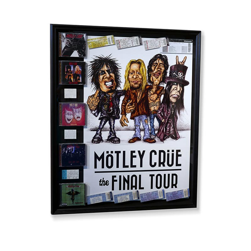 Motley Crue final tour poster and paraphernalia framed in a black frame